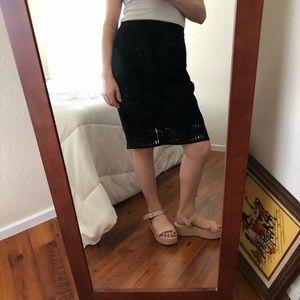 Calvin Klein Black Pencil Skirt detailed hem SZ 6